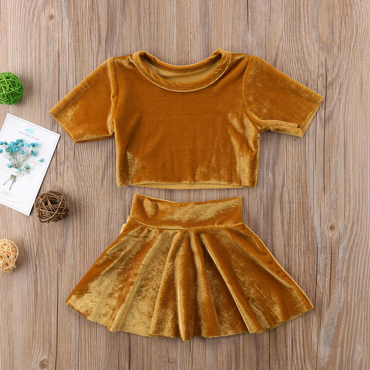 86e1eb37465 ... Vintage Kids Baby Girls Velvet Clothes Set Gold Crop Top T-shirt+Skirts  Princess ...
