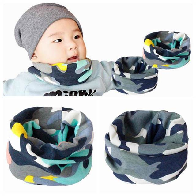 Camo Print Baby Scarf Autumn Winter Baby Boy Girl Bibs Collar Kids Cotton O Ring Neck Scarves
