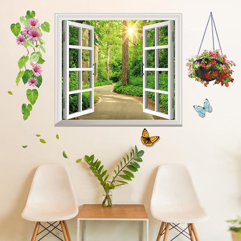 New Fresh 3d Window Wall Sticker Country Road Tree Mural Stickers Diy Butterflies Flowers Muursticker Creative Home Decor Wt029 Home Decor Tree Muralmural Sticker Aliexpress