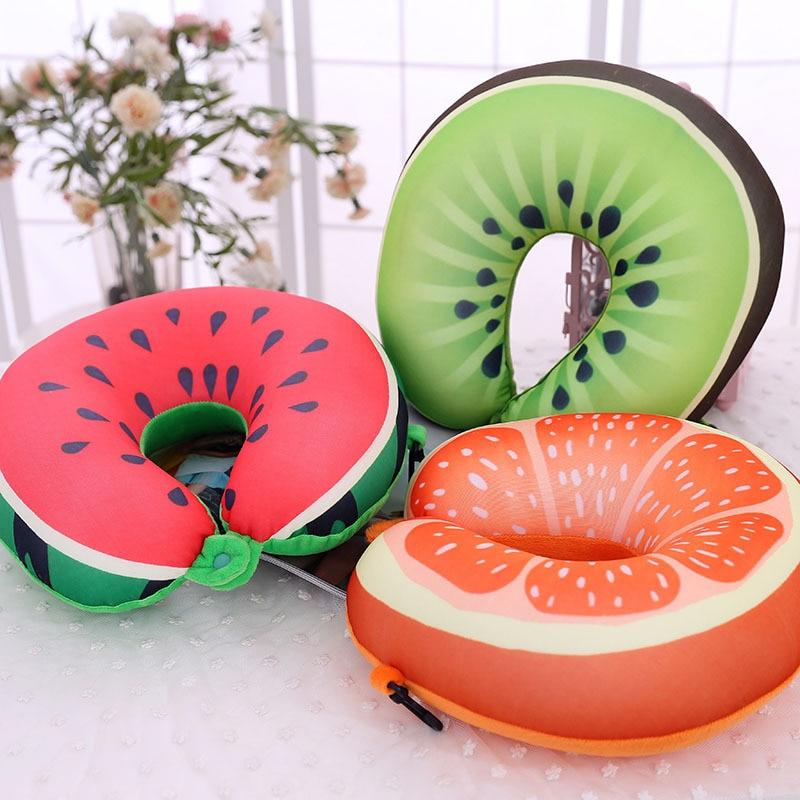 1 Stks Cartoon Leuke Fruit Kussens Foam Deeltje Massage Nekkussen Auto Reizen Kussen U Vormige Hals Bescherming Kussen 30*30 Cm Zorgvuldige Verfprocessen