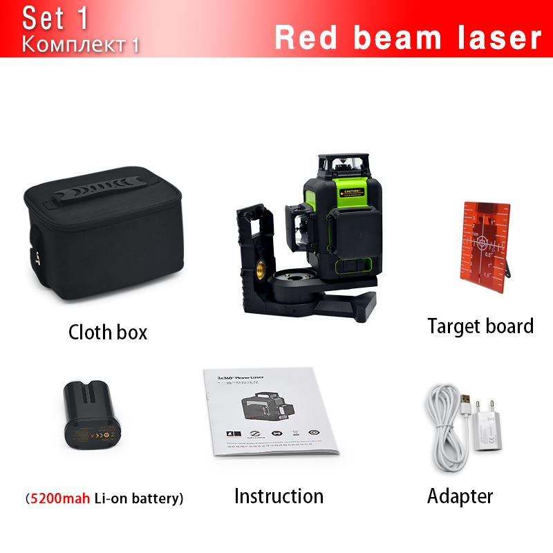 Clubiona CE сертифицированный 3D лазерный нивелир с аккумулятором 5200 мАч и горизонтальными и вертикальными линиями работает отдельно лазерные линии - Цвет: 12RC
