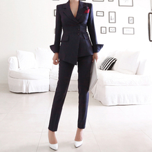 Women Irregular Striped Pant Suits Single Breasted Blazer Jacket and Slim Pencil