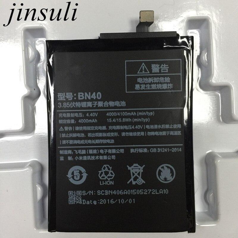 jinsuli BN40 Battery For Xiaomi Redmi 4 Pro Prime 3G RAM 32G ROM Edition Redrice 4 Hongmi 4 Bateria Accumulator
