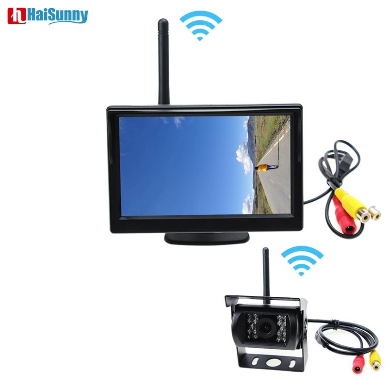 Caméra de sauvegarde sans fil HaiSunny pour camion, vr, camping-car, remorque. Caméra de recul pour véhicule avec moniteur de stationnement de 5 pouces