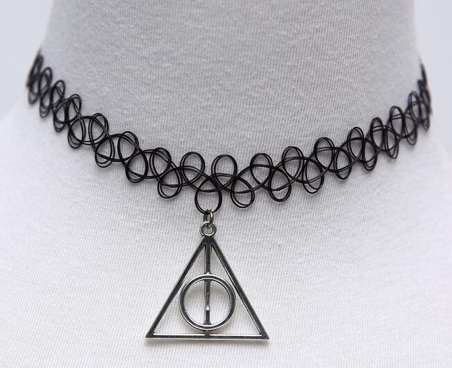 Black Handmade Hollow Tattoo Choker Bracelets Ring Necklaces Elastic Gothic