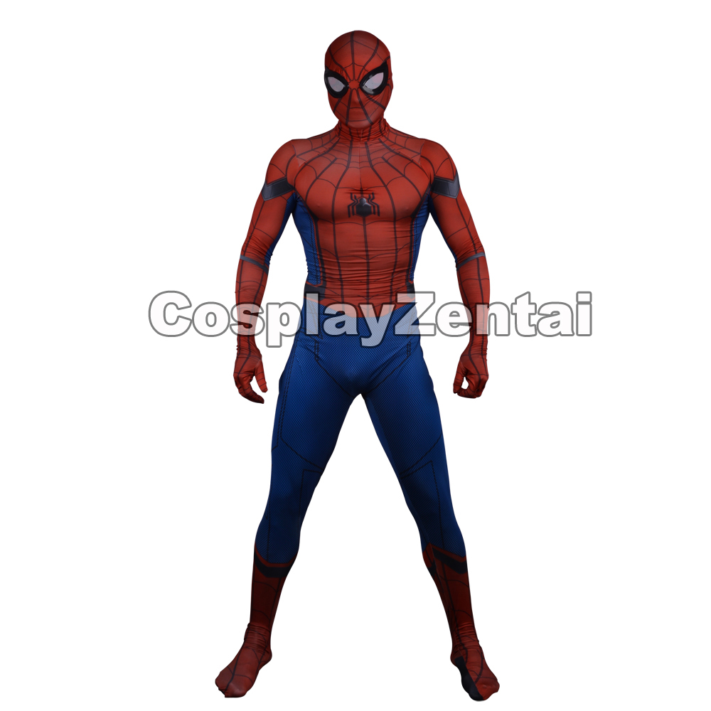 Spiderman Homecoming Costume 3D Print Spandex Spiderman Cosplay Halloween Zentai Suit