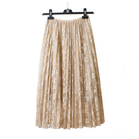 2017 Spring And Autumn Lace Hook Flower Skirt Pleated Petticoat Medium Long Underskirt Elastic Waist All