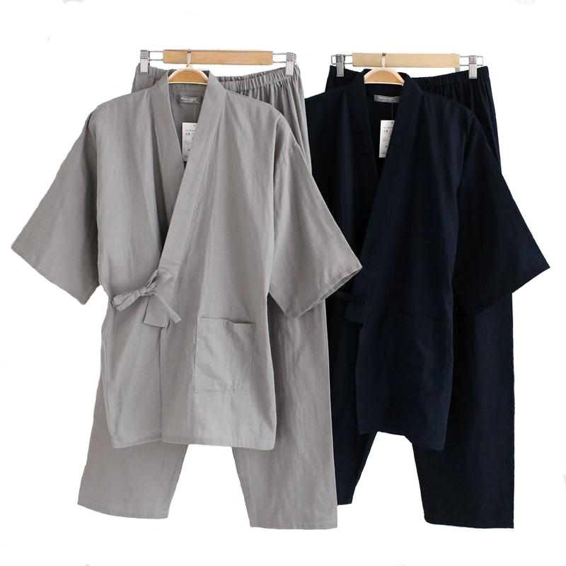 Men's Cotton Kimono Sleepwear Set New Style 2Pcs Robe&Pants Home Wear Long Loose Pajamas Suit Solid Nightwear With Pocket