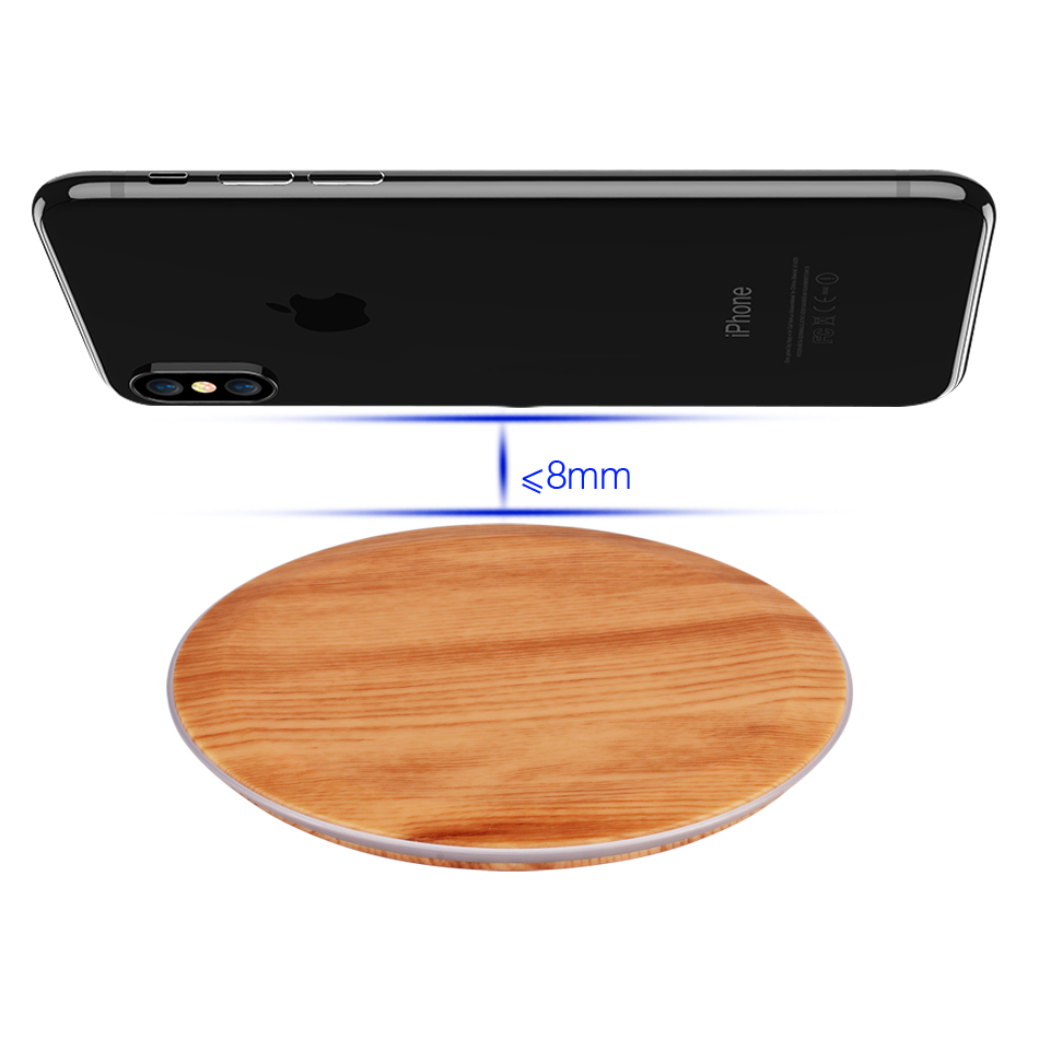 CinkeyPro Wood Wireless Charger Pad with LED Light 5W Charging for iPhone 8 X Samsung XiaoMi Charge Mobile Phone USB QI Device 5