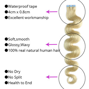 """Image 3 - MRSHAIR Body Wave Tape In Hair Extensions 20pc Seamless Hair Adhesives Machine Remy Hair Skin Weft 613 Strong US Tape Ins 18"""""""
