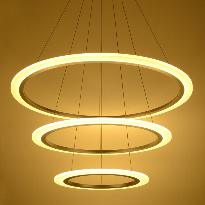 Top Modern LED Acrylic Chandelier Lights Lamp For Living Room 3 rings Chandeliers Lighting Pendant Hanging