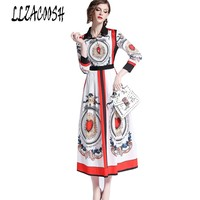 High Quality 2018 Runway Dress Long Sleeve Turn down Collar Women Vintage Print Heart Slim Party Dress Long Maxi Dress