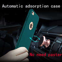 Magnetic Phone Case for iPhone 6 6s plus 7 7 plus Automatic Adsorption Car holder Back Cover Matte Frosted Hard PC Case Fundas
