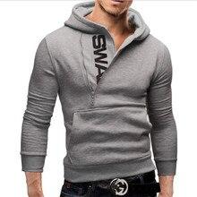 Sweatshirt Men Letter LOGO Side Zip Men's Hooded Jacket Long Sleeve Solid Poleron Hombre Male Casual Fashion Autumn Winter Coat недорого