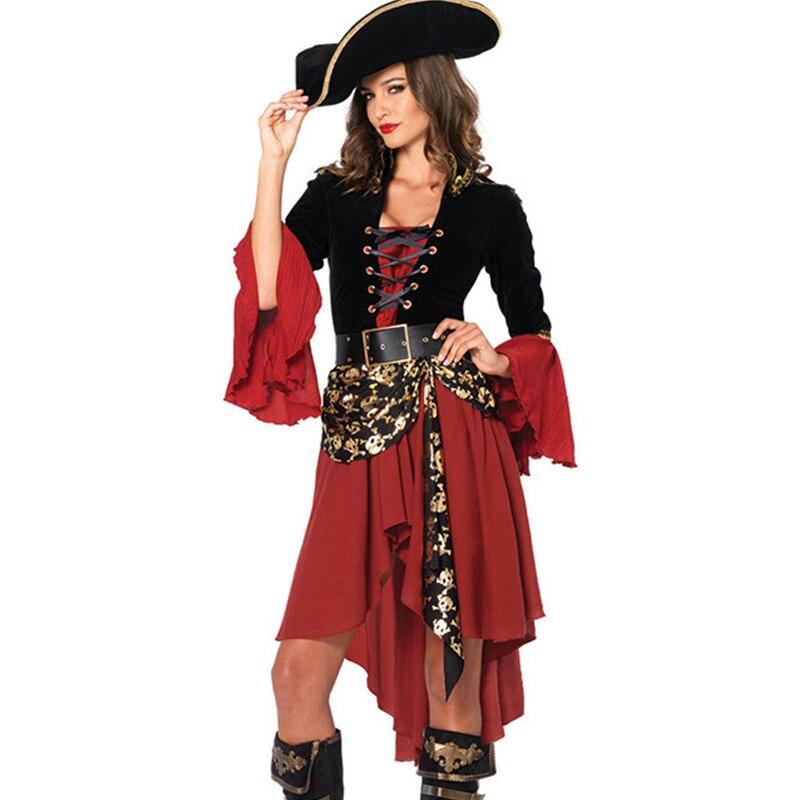 Women's Pirate Lace-up Front Blouse Costume Ladies Elegant Buccaneer Costumes Halloween Gown Dress Wear 3pcs hat +dress+belt