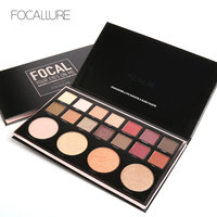 FOCALLURE 18 Color Shimmer Nature Glow Eyeshadow Palette Portable Makeup Cosmetics Nude Eye Shadow Powder Waterproof