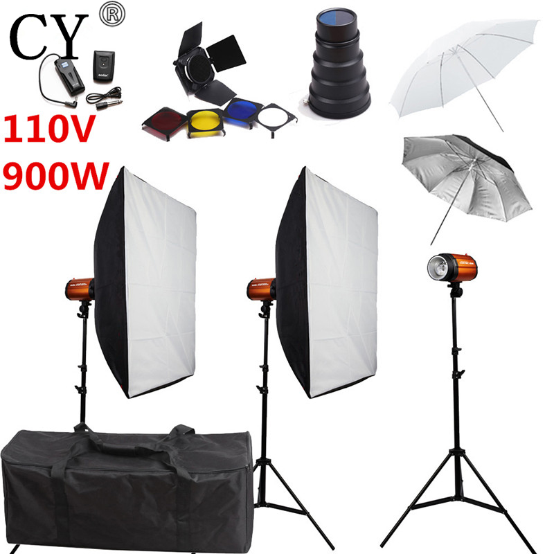 CY Photography Studio Soft Box Flash Lighting Kits 900w 110V Flash Light*3+Softbox*2+Stand*3 For Photo Studio Godox Smart 300SDI godox smart 300sdi photography studio soft box flash lighting kits 600ws strobe light softbox stand set photo studio accessories