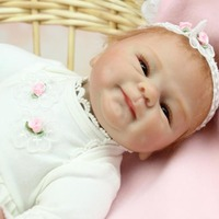 NPK 45CM Full Body Silicone Reborn Baby Doll Toys Handmade Lifelike Newborn Baby Doll For Kids Real Gentle Touch Kids Playmate