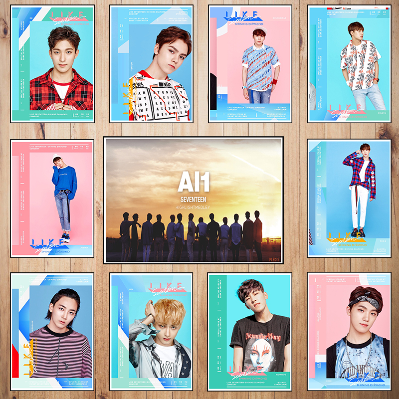 Korean band Seventeen Coated paper poster Office Gift Room Dining Home Decor wall sticker Design
