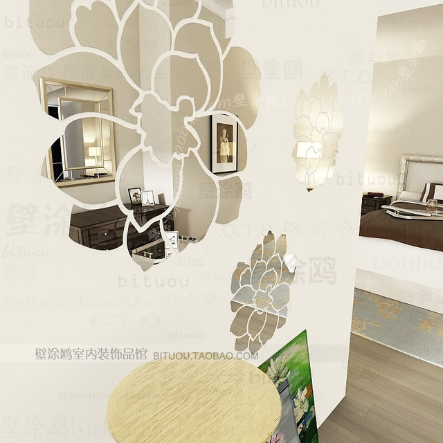 Wholesale Luxury Ikea DIY Acrylic 3D Wall Mirror Stickers Mirror Embossed  Mirror Home Decoration Wall Art