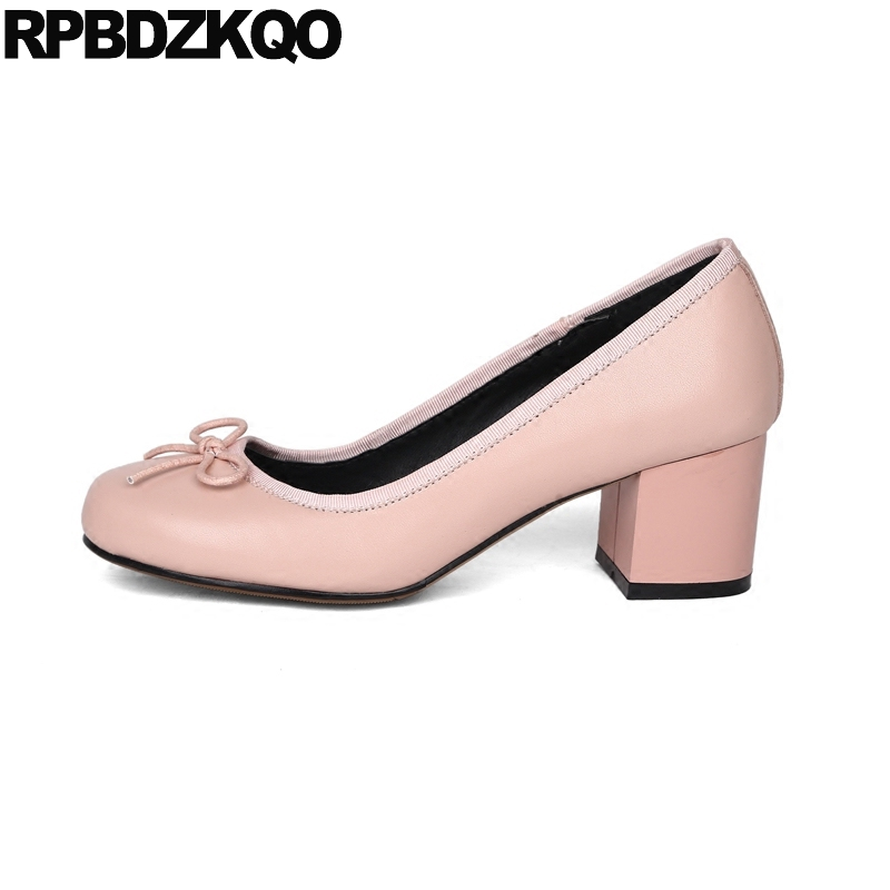Pumps Bow Special Genuine Leather Size 4 34 Pink Sweet Casual Shoes Women Medium Round Toe Thick High Heels 33 Ladies Chinese big size high heels round toe women platform shoes cool casual white lace wedge black creepers medium pumps mesh chinese fashion