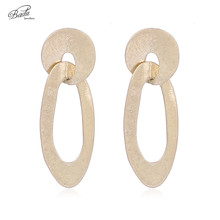 Badu Antique Gold Earring Women Vintage Curved Stud Earrings Long Fashion Jewelry Silver Wholesale Gift for Girls