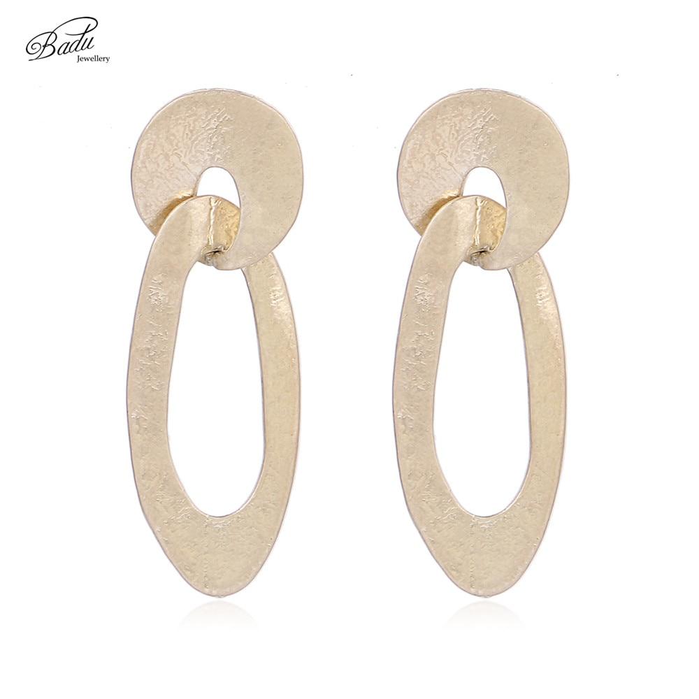 Badu Antique Gold Earring Women Vintage Curved Stud Earrings Long Fashion Jewelry Wholesale Earrings Gift for Girls