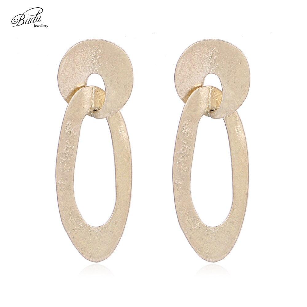 Badu Antique Gold Earring Women Vintage Curved Stud Earrings Long Fashion Jewelry Silver Wholesale Earrings Gift for Girls