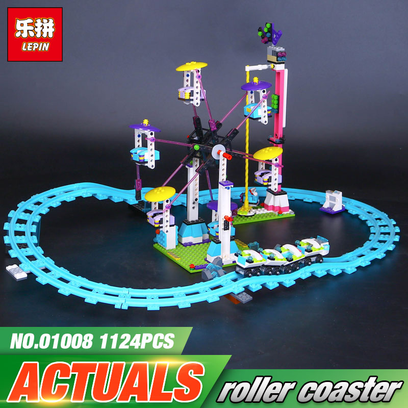 New LEPIN 01008 Genuine Educational Funny Amusement Park Roller Coaster Building Block Kits Blocks Bricks Girl Toys 41130 2016 new lepin 01008 1124pcs amusement park coaster building kits girl friend blocks bricks toys compatible gift 4113