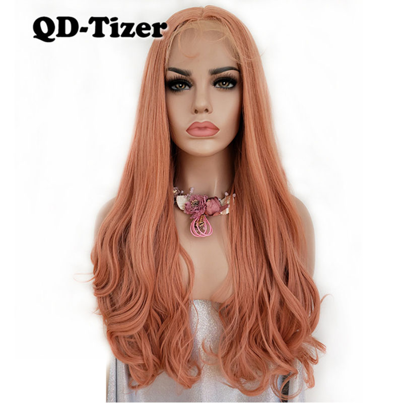 Comprar QD Tizer Rosa Peluca Delantera De Encaje Largo Ondulado ... ae21a3ecd9f0