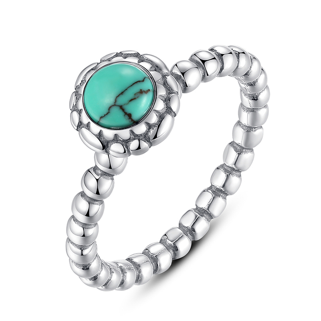 ZMZY Luxury Genuine 100% 925 Sterling Silver Brand Birthday Blooms Ring Turquoise Stackable Bubble Ring