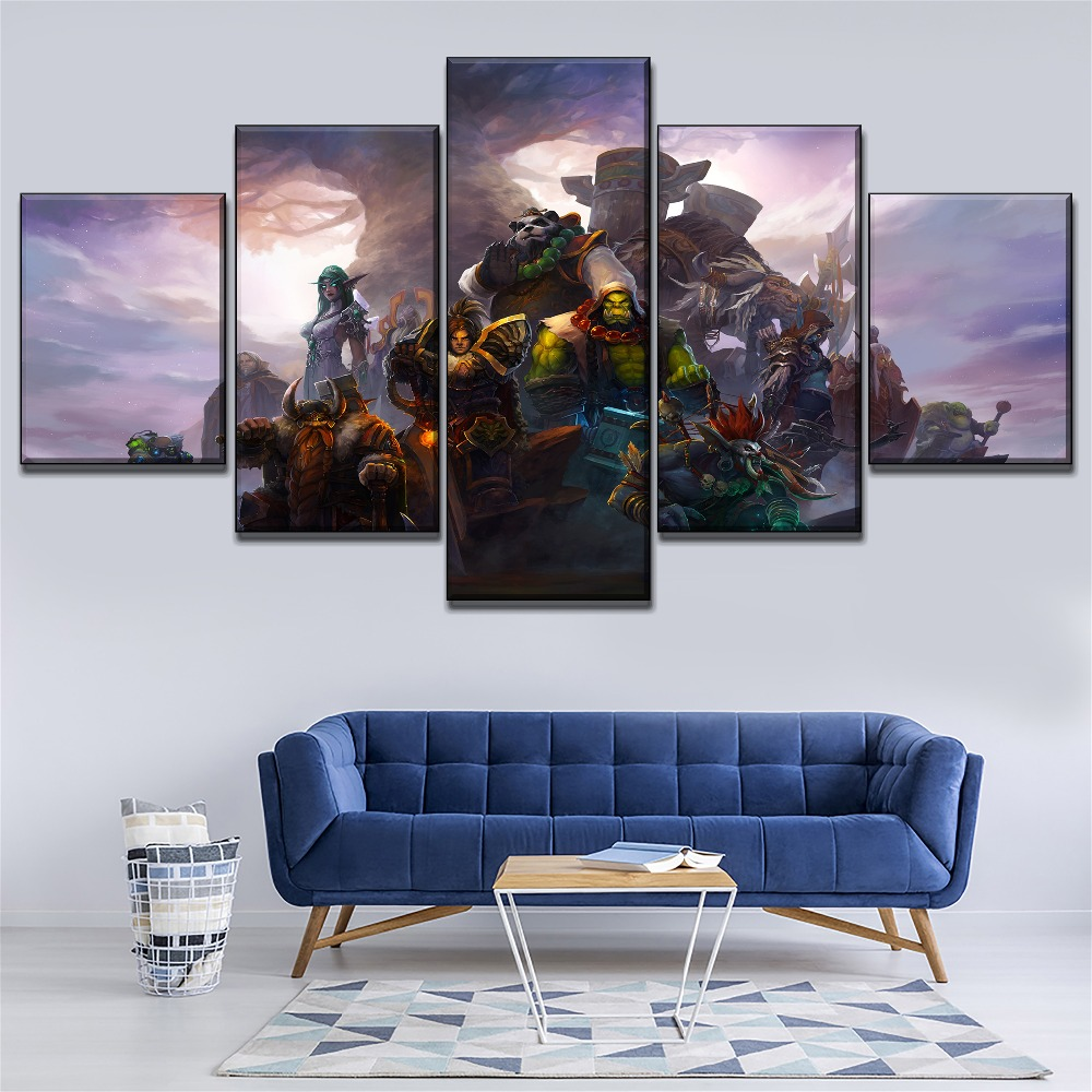 Modular Pictures Wall Art 4 Pieces Game Orc Warrior Poster High Quality Canvas Printed Type Modern Home Decor Bedroom Framework in Painting Calligraphy from Home Garden
