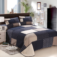 Navy Blue Plaid Striped Patchwork Quilted Bedspread,Reversible Quilt Bed Set Coverlet Pillow shams Queen size 3Pieces Ultra Soft