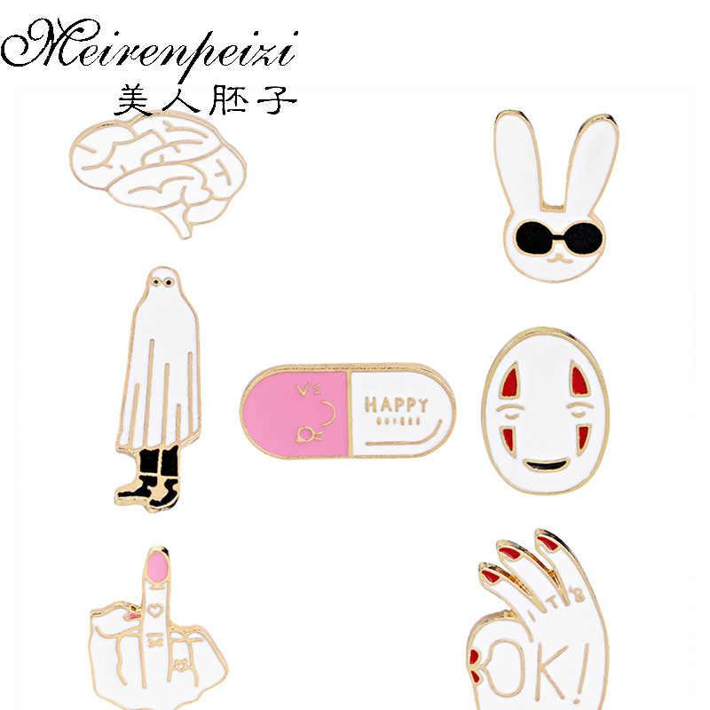 Маска героя из мультфильмов кролик средний палец брошь-капсула булавка железная эмалированная брошь Кнопка Одежда рюкзак значок значки ювелирные изделия