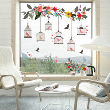 Colorful Flower Birds Birdcage Wall Sticker Decals Wall