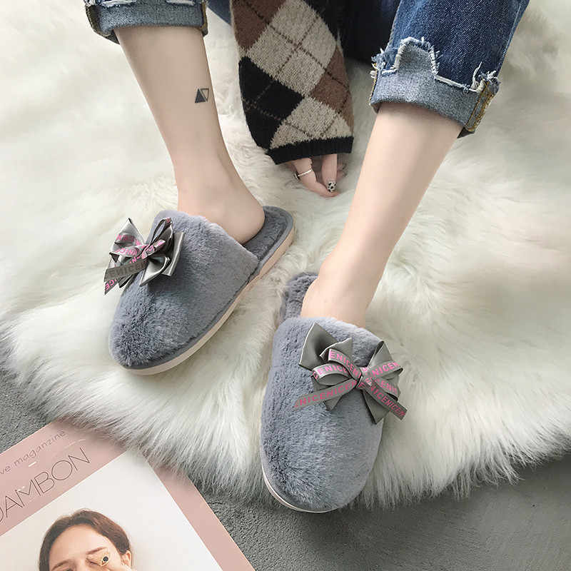 COOTELILI Women Home Slippers Winter Warm Shoes Woman Slip on Flats Slides Female Faux Fur Slippers Women Shoes Closed Toe