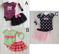 Hot Sale Baby Clothing Set Cartoon Summer Wave Point Romper Lace Skirt Headband 3 Pcs Clothing