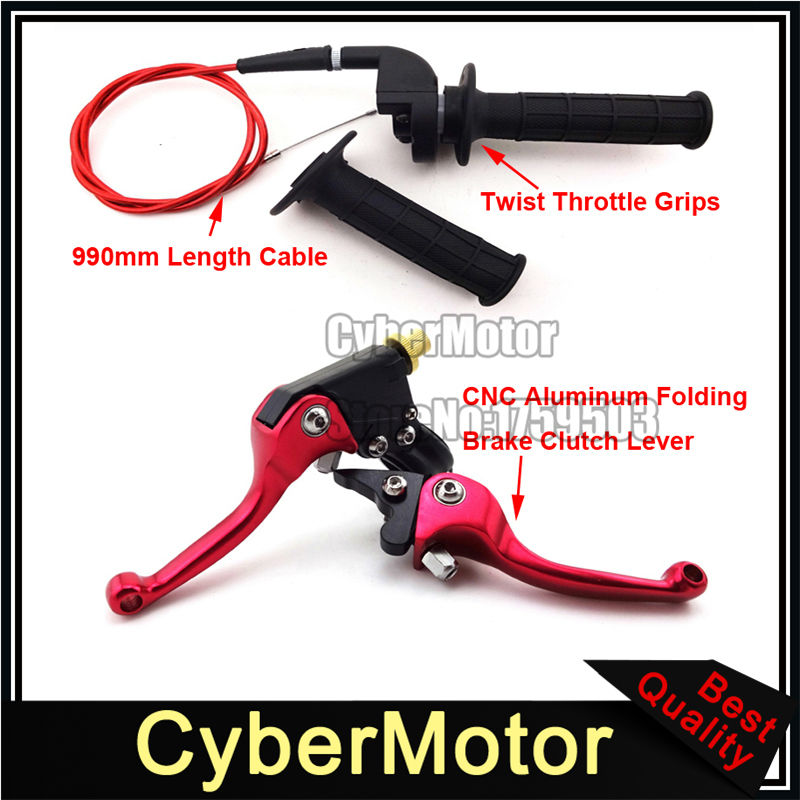 Red Folding Brake Clutch Lever Throttle Handle Grips Cable For Chinese 50cc 90cc 110cc 125cc 140cc 150cc 160cc Pit Dirt Bike