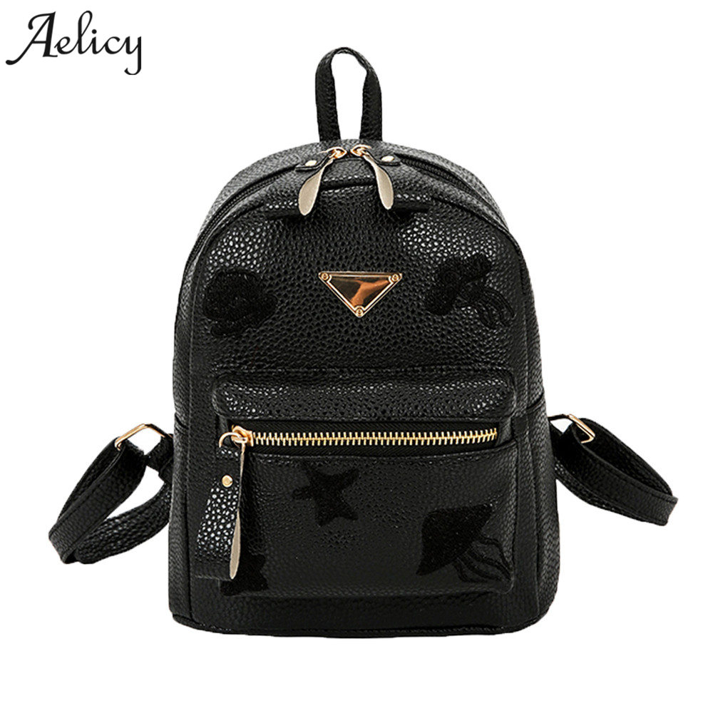 Aelicy Women Backpack Small Size Black PU Leather Mini Backpacks for Teenage Girls Female Back Pack Famous Brand Women Backpack women s leather backpack mini tassel backpack women pu back pack backpacks for teenage girls rucksack small travel bag txy519