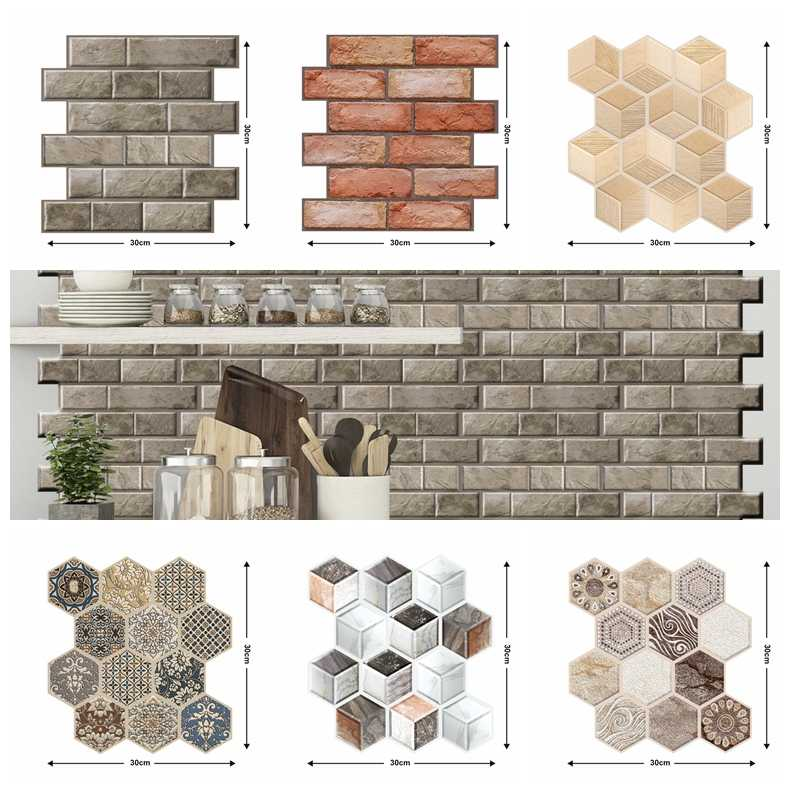 3D Brick Wall Sticker Home Bedroom Kitchen Bathroom Self Adhesive Wallpaper