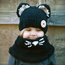 Scarf & Hat sets For kids clothing Kitty Shawl hat Girls Autumn And Winter Wool knit cap Baby bib Chlidren Warm sets