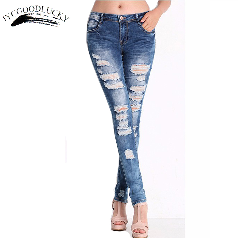 2016 Denim Ripped Women Jeans Skinny Vintage Pencil Jeans With Low Waist Worn Casual All Matches Jeans Women Plus Size 3XL