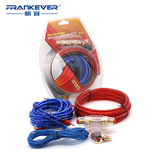 Special Price Frankever 1 Set Audio Cables Power Amplifier Installation Kit Auto Car Speaker Woofer Subwoofer RCA Cables Power Line Fuse Suit