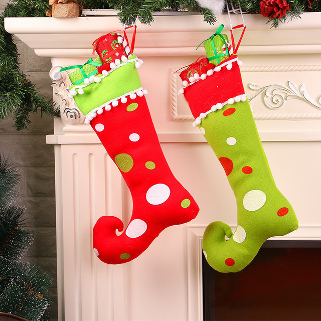 haochu 2pcs christmas stockings socks ornament gift boots xmas pendant new year candy box home market - Red And Green Christmas Stockings