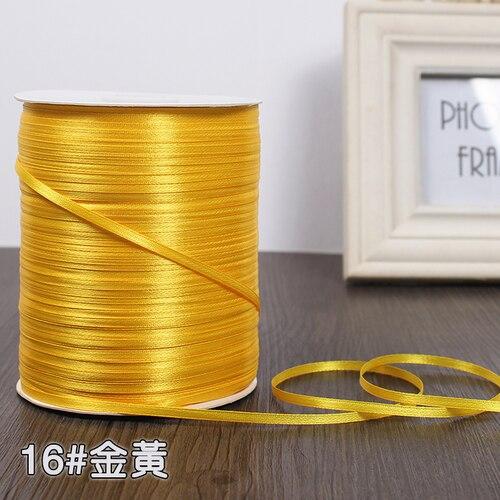 3 мм ширина бордовые атласные ленты 22 метра швейная ткань подарочная упаковка «сделай сам» ленты для свадебного украшения - Цвет: Golden Yellow