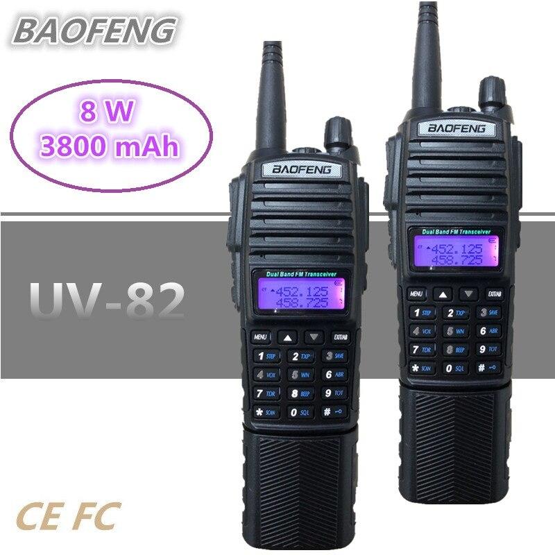 1/2/3 PC BAOFENG UV-82 8 W talkie-walkie 10 KM PTT Telsiz 3800 mAh UHF VHF poche jambon CB Station Radio HF émetteur-récepteur Scanner 10 W