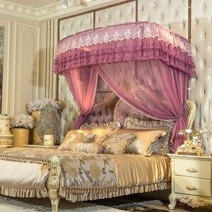 Романтическая роскошная кружевная направляющая U-типа в дворцовом стиле, противомоскитная сетка с тремя открытыми дверцами, телескопическ...