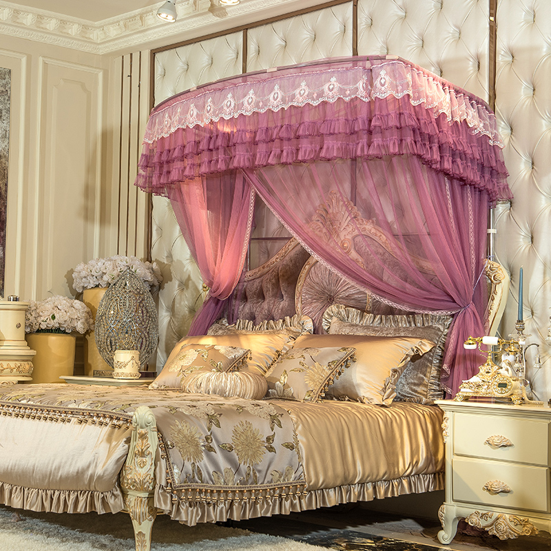 Romantic luxury Lace U type Palace style Guide rail mosquito net three open door telescopic mosquito net 1.5m 1.8m 2m bed