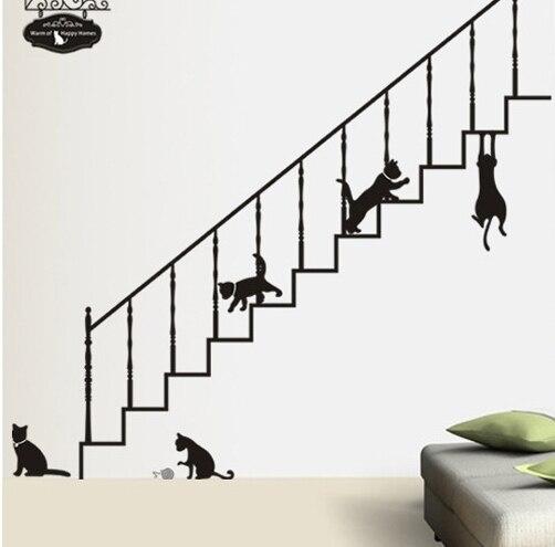 Negro gatos vinilos adhesivos de pared de la escalera de - Vinilos para escaleras ...