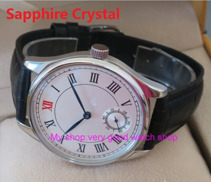 Sapphire Crystal 44mm PARNIS White dial Asian 6498 Mechanical Hand Wind movement font b men s